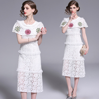womens ladies Designer Elegant white lace embroidery Embroidered runway slim Cocktail party midi dress dresses clothes clothing