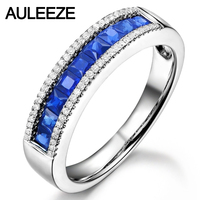 Благородный Принцесса Cut 0.9 cttw САПФИР 14 К белого золота nutural diamond Обручение обручальное кольцо для Для женщин настоящий бриллиант Рождествен