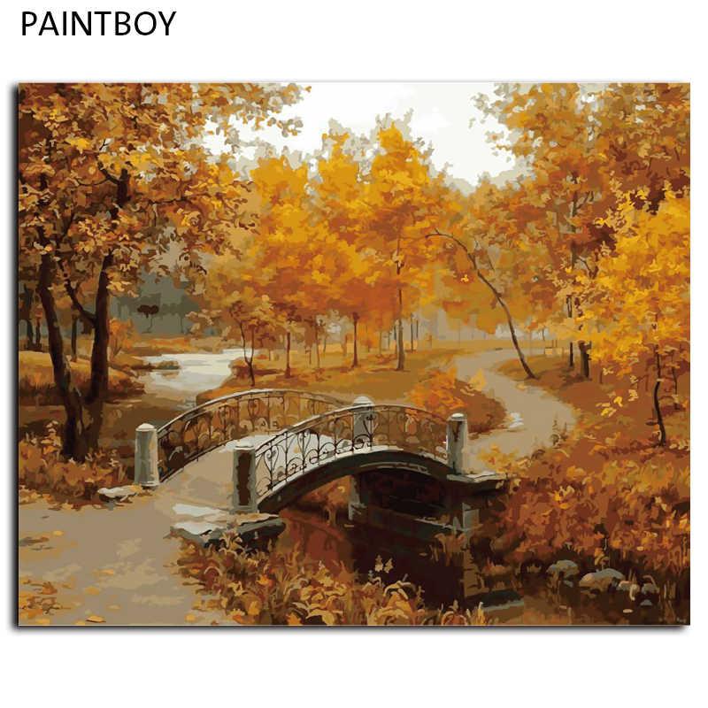 Hot! Wall Art oprawione obraz malarstwo numerami DIY cyfrowy obraz olejny na płótnie wystrój domu jesiennego krajobrazu G071