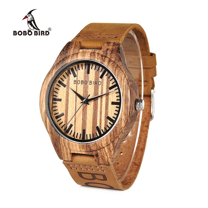 BOBO BIRD Zebra Wood Watch Men Quartz Movement Customize Leather Band Wristwatch relogio masculino B-O30