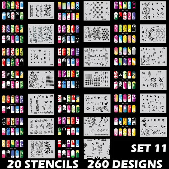 Body Art Nail Art Airbrush Stencil Set 11 con 20 Hojas de Diseño Plantilla Stencil 260 Diseños