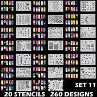 Body Art Airbrush Nail Art Stencil Set 11 with 20 Stencil Template Design Sheets 260 Designs