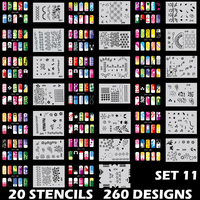 Body Art Airbrush Nail Art Stencil Set 11 with 20 Stencil Template Design Sheets 260 Designs