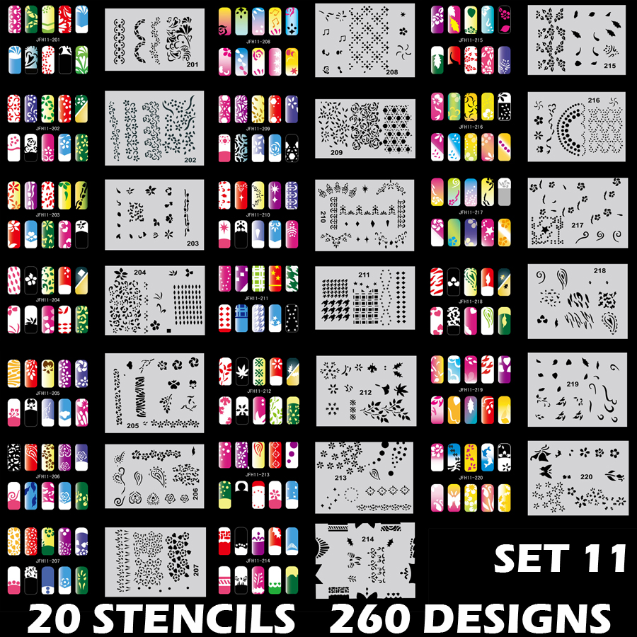 Colopaint Body Art Airbrush Nail Art Stencil Set 11 with 20 Stencil Template Design Sheets 260 Designs 80 80 cxd2971 1gb cxd2971gb cxd2971bgb cxd2971agb cxd2971dgb template stencil