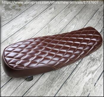 1pcs Vintage Motorcycle Seat Cushion Grid Brown/Black Classic Motorbike Seat Handwork seat MASH125 MUTT125