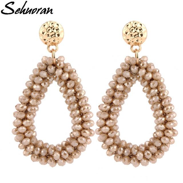 2017 New earrings For aretes largos baroque big long earrings for women pendantes christmas drop dangling crystal earrings