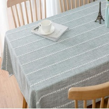Home textile stripe simple ins wind Nordic tea table tablecloth pastoral fabric cotton linen Small fresh square home