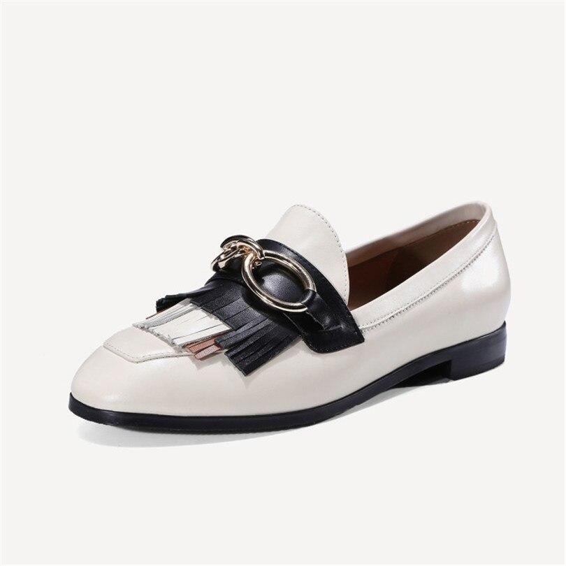 Talon Métal Véritable Femmes Décor En Concise Chaussures white Chaîne Zapatos Fringe Plat Mocassins Cuir Bout Occasionnels Black Tassel Rond Mujer BwCYx5Pq