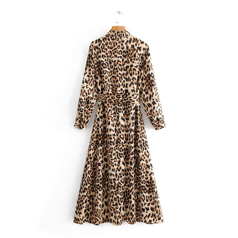 9ab06e6d0b21 ... Autumn Vintage Animal Leopard Print Dresses Women Bow tied Sashes Shirt  Dresses Female Elegant Split Chic ...