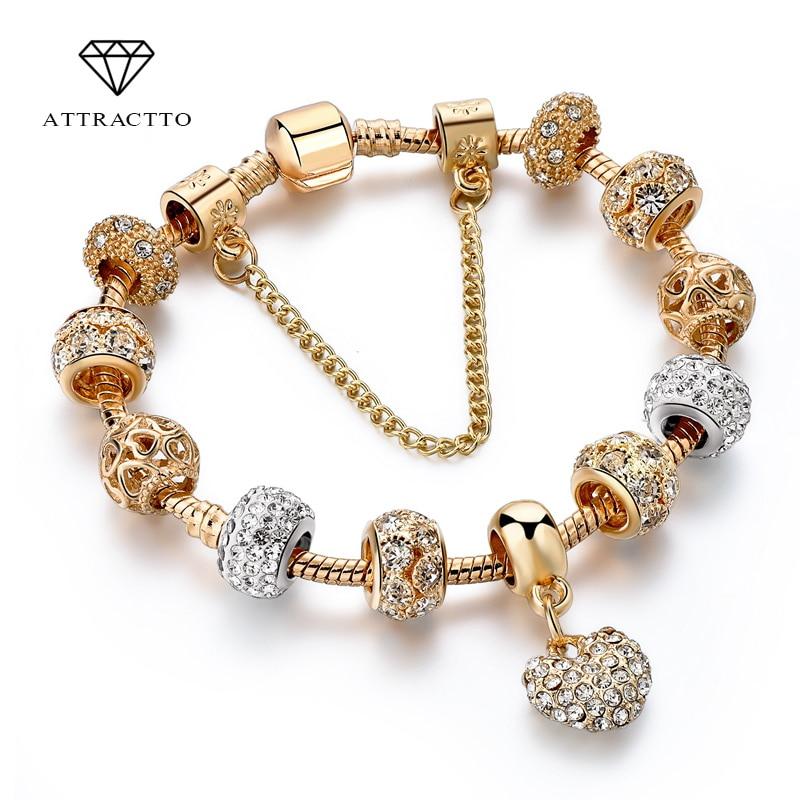 ATTRACTTO Luxury Crystal Heart Charm Bracelets&Bangles Gold Bracelets For Women Jewellery Pulseira Feminina Bracelet Sbr170020