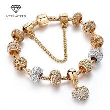 Attrattto Роскошные хрустальные браслеты и с сердечками золотые