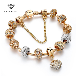 ATTRACTTO Luxury Crystal Heart Charm Bracelets&Bangles Gold Bracelets For Women Jewellery Pulseira Feminina Bracelet Sbr170020(China)