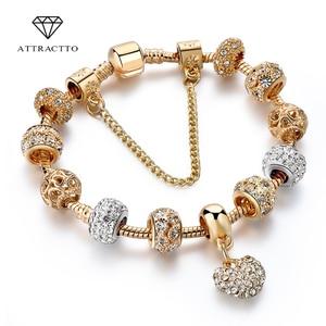 ATTRACTTO Luxury Crystal Heart Charm Bracelets&Bangles Gold Bracelets For Women Jewellery Pulseira Feminina Bracelet Sbr170020(China)