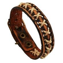 Creative 100%Genuine Leather Bracelets Charm Weave Bracelets Punk Men Women Bangle Adjustable Jewelry Accessory Gift FS031