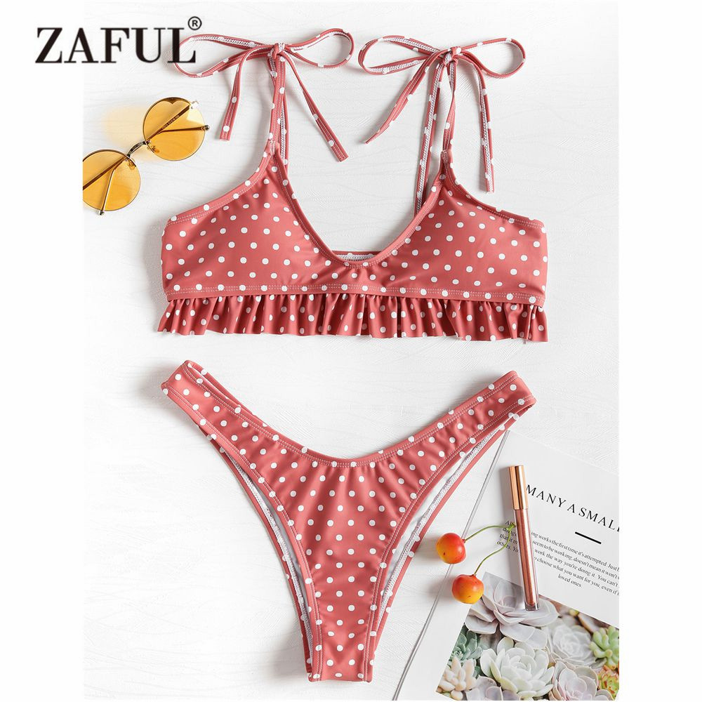 7df51fc9f81d ZAFUL Tie Polka Dot Bikini volante traje de baño mujer HighCut traje de  baño tirantes espagueti BraletteThong Biquni luz Coral traje de baño