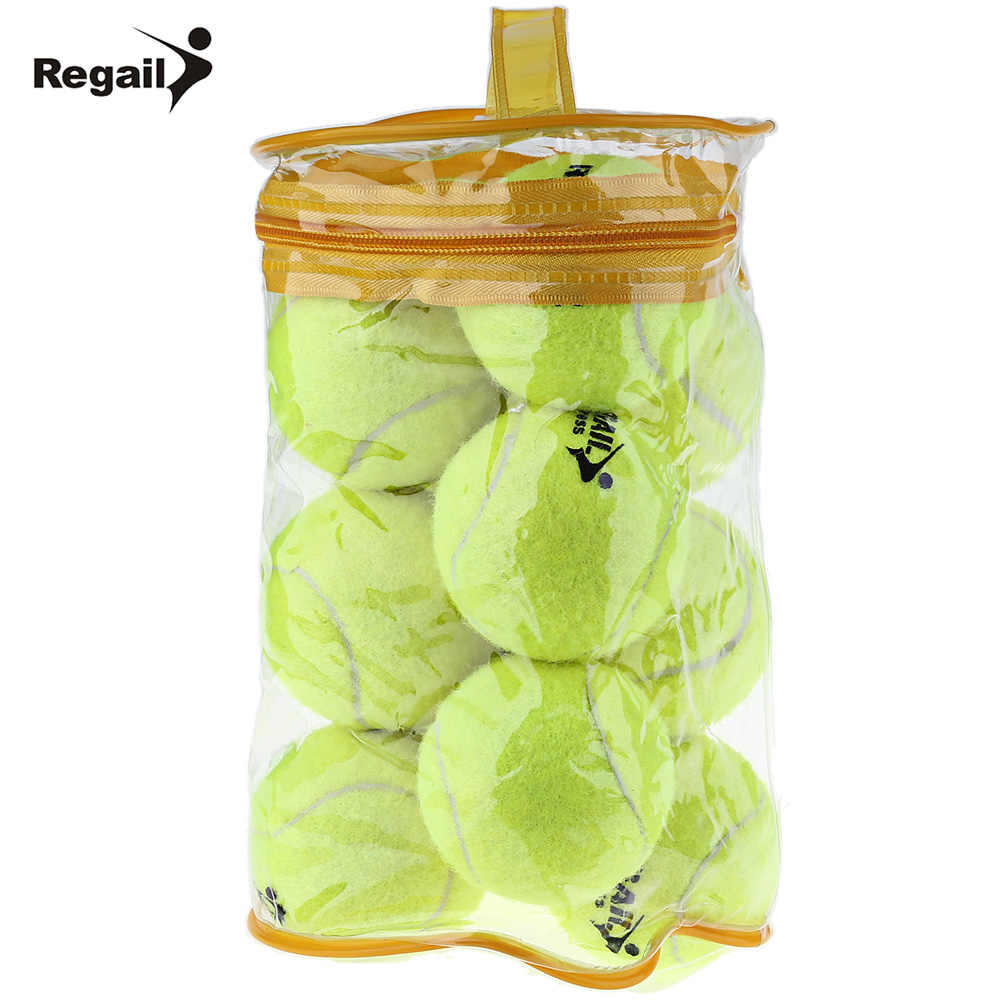 REGAIL 12pcs Tennis Ball High Elasticity Training Ball Natural Rubber And Special Woolen Competition Tennis Ball