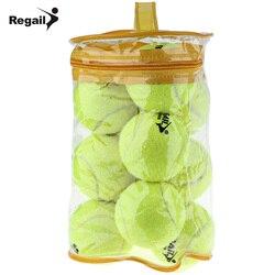 Регейл 12 шт теннисный мяч высокая эластичность тренировочный мяч натуральный каучук и специальные шерстяные соревнования Теннисный мяч