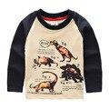 Caliente venta Size100 ~ 140 niños camisetas para niños de manga larga camisetas maquillaje niño tops tees animales dinosaurios