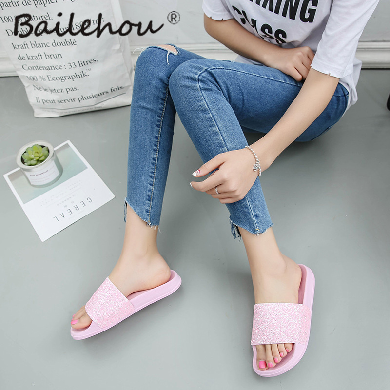 Women Slippers Home Indoor Woman Ladies shoes Slip On Slides Flat New Bling Fashion Female Casual Beach Flip Flops Sandal flip-flops