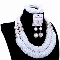 4UJewelry Jewelry African Set White Crystal Silver Balls Handmade Nigerian Wedding Beads Necklace Jewellery Set 2018 Free Ship