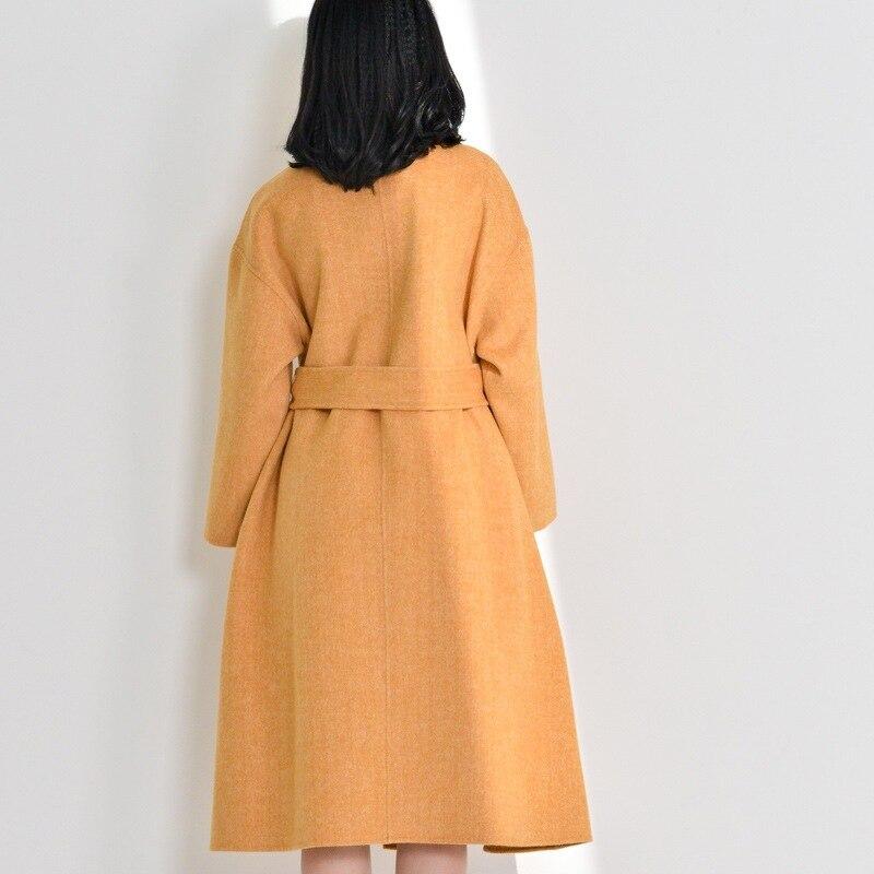 Veste Femmes De orange face Couleur Double Ceinture Longues Longue Acrmrac Solide Manches Manteaux À Mince Manteau Bleu Laine X7Zxd