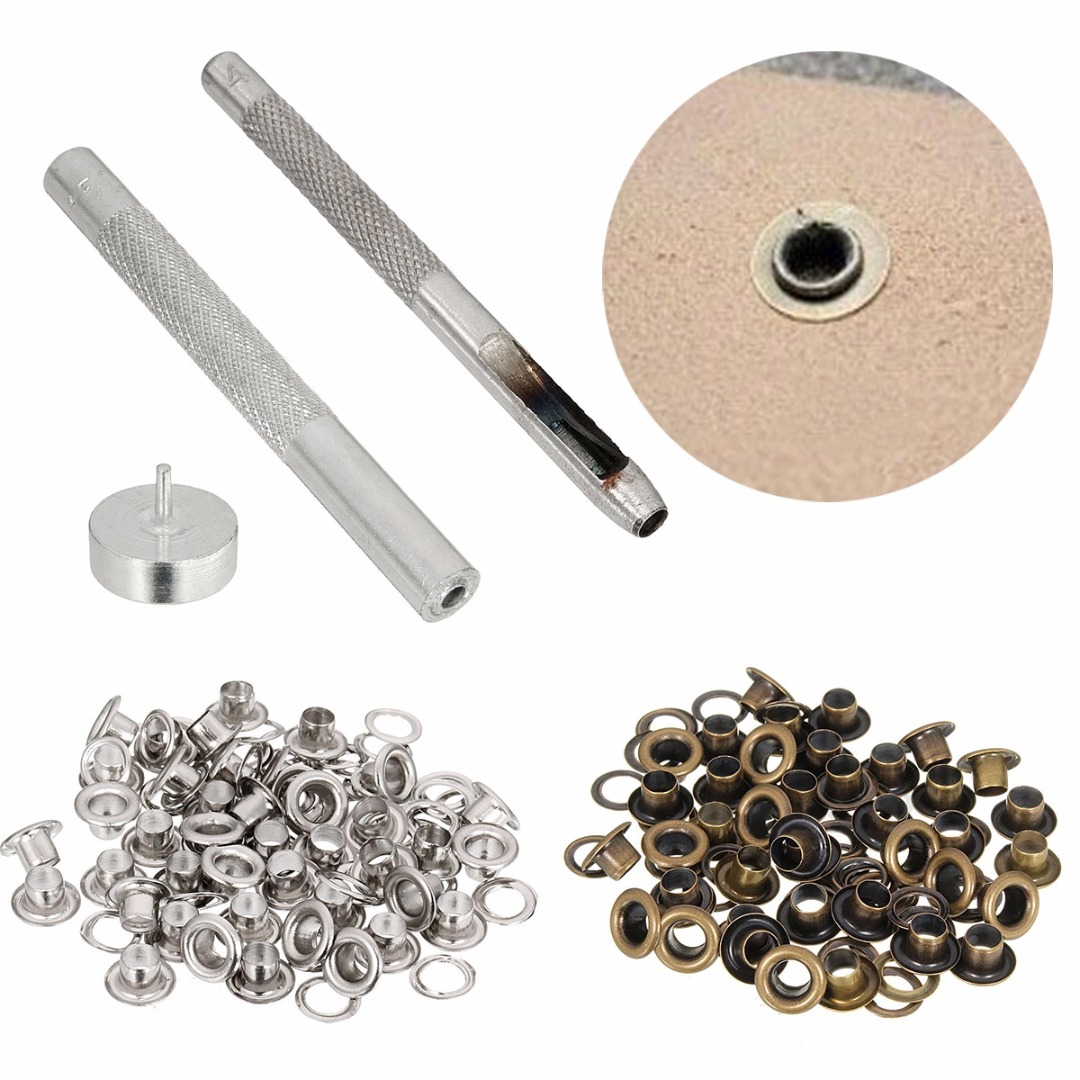 JX-LCLYL 4MM Grommet Installation Setting Tool Kit Set + Leather Hole Punch + 80 Eyelets