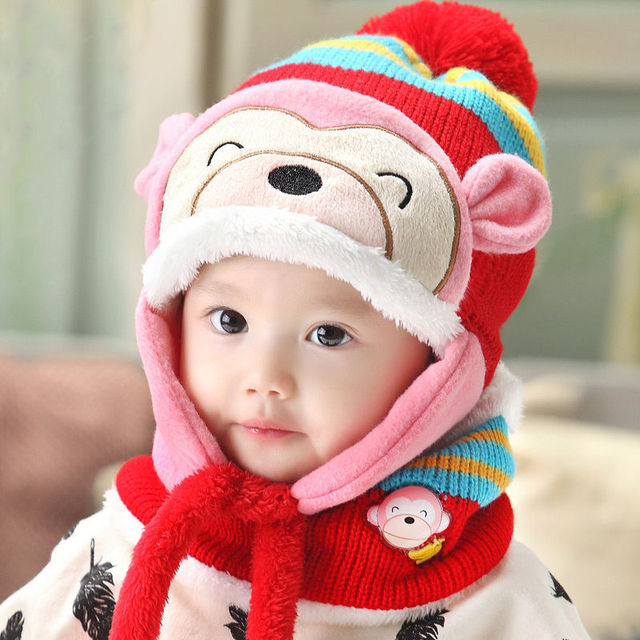 e32f01d264d Cute Kids Baby Girl Boy Winter Monkey Beanie Cartoon Hat Earflap Knitted  Warm Cap Hat