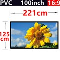 100inch 16:9 PVC white plastic curtain wall mounted projector simple portable hd screen 2.21x1.25meters 3d theater free shipping