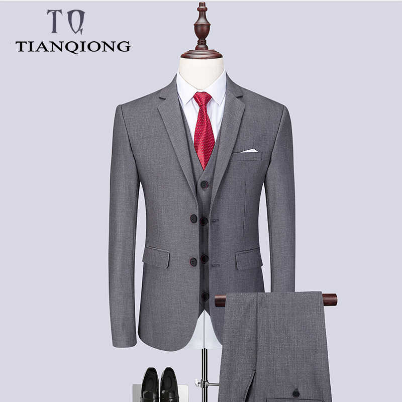 2019 Fashion Men's Latest Coat Pant Designs Casual Business Suit 3 Pieces Set /Men's Suits Blazers Trousers Pants Vest Waistcoat