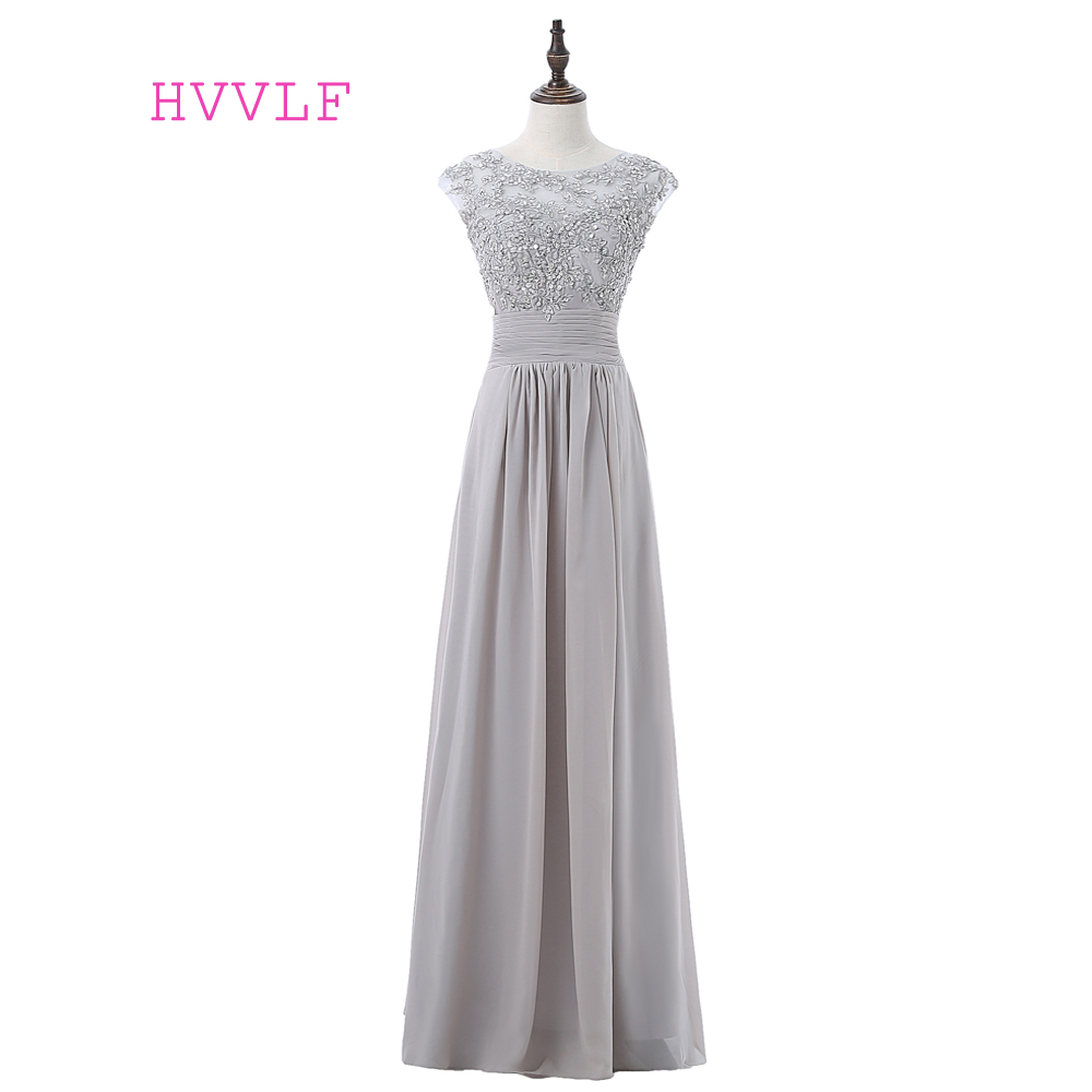 Silver 2019 A-line Cap Sleeves Chiffon Appliques Lace Beaded Long Cheap   Bridesmaid     Dresses   Under 50 Wedding Party   Dresses