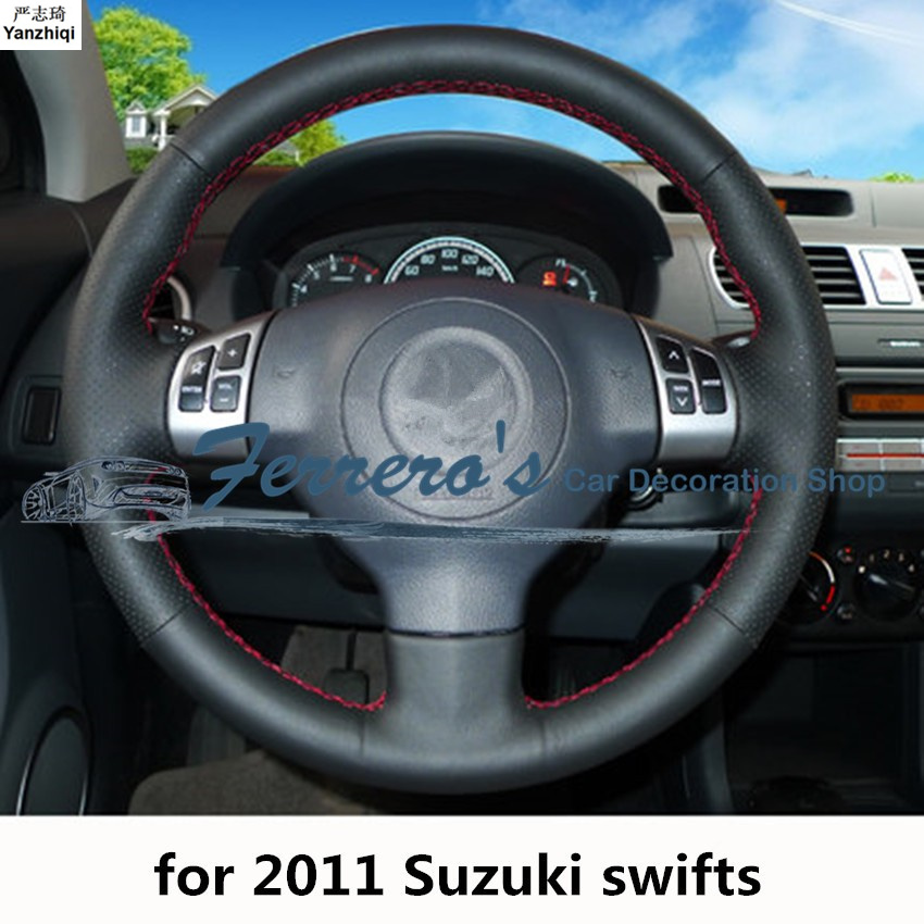Sew-on Genuine Leather Car Steering Wheel Cover Car Accessories For Suzuki 2011 Swifts / 2012-2015 Jimny / 2014 S-CROSS