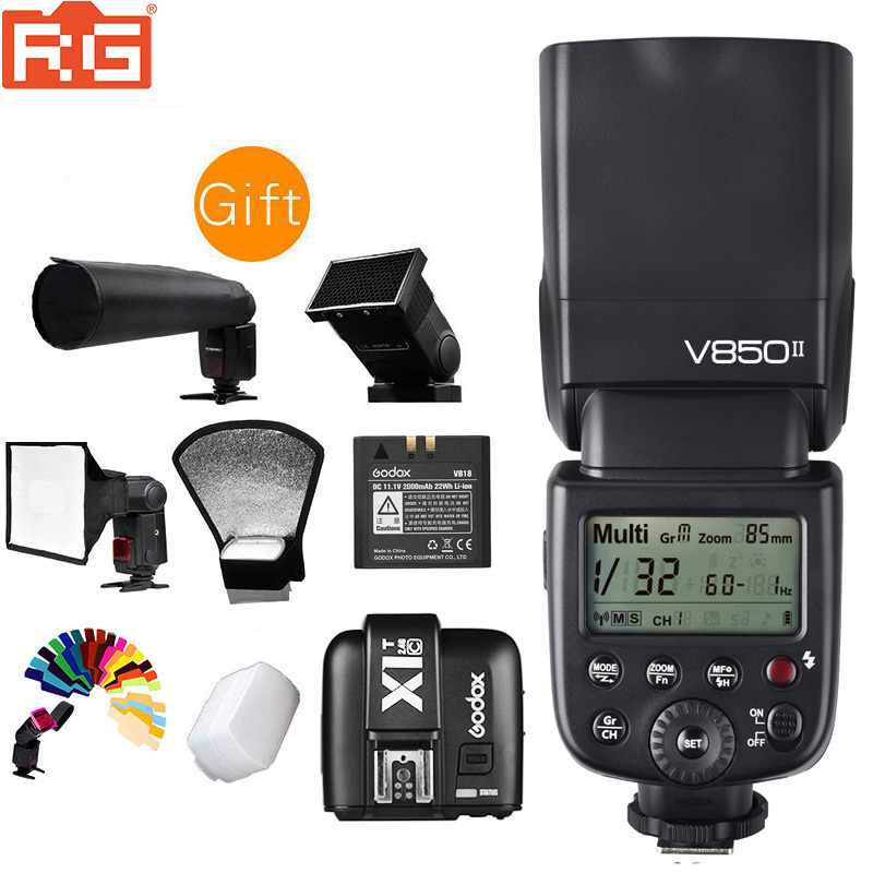 Flash Godox V850 V850II avec batterie Lithium ion Rechargeable pour Nikon Canon Olympus Pentax Fujifilm-in Clignote from Electronique    1