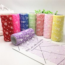 15cm*10yard Clover Love Colorful Tulle Spool Craft Organza DIY Flocking Rolls Gauze for Wedding Party Christmas Decoration