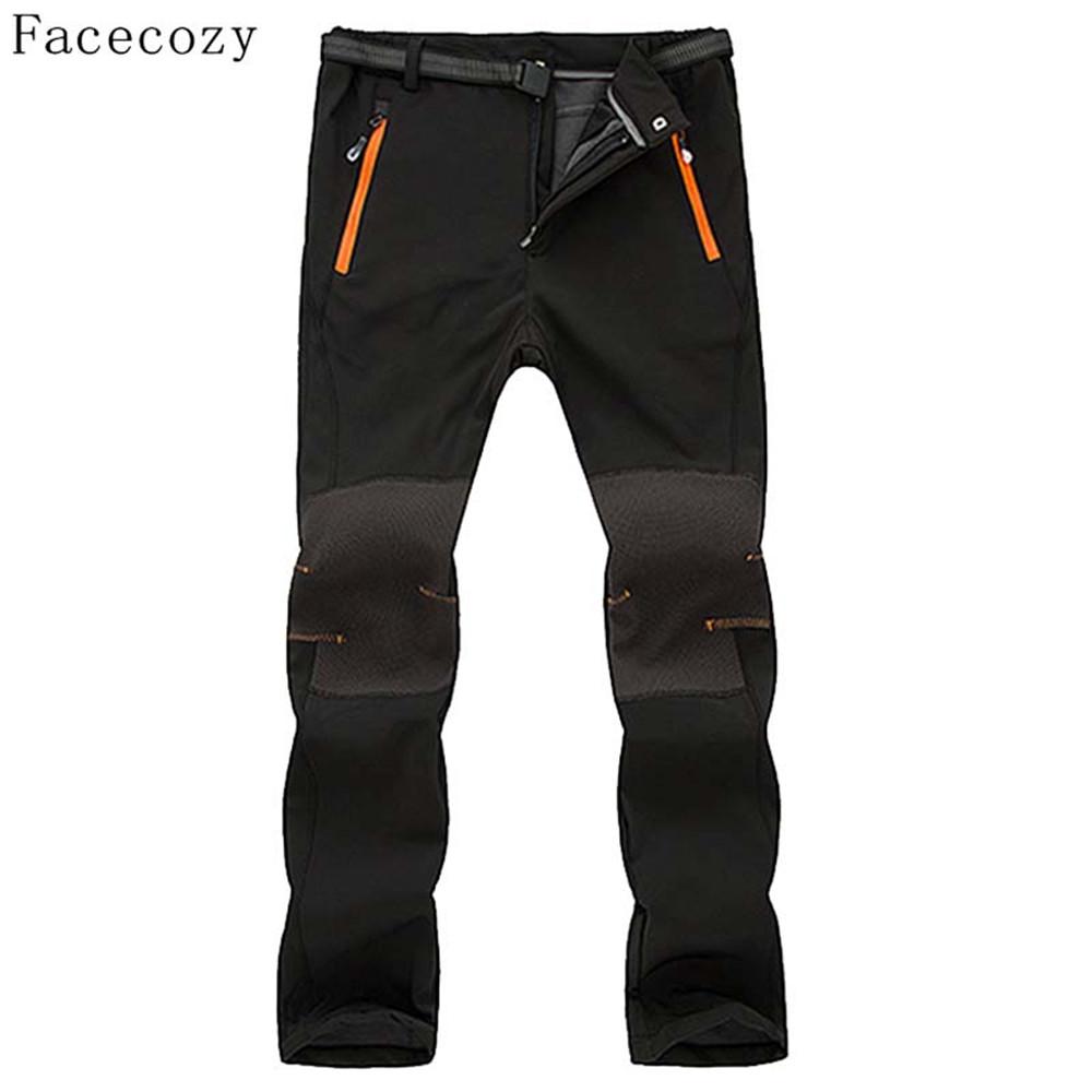 Prix pour Facecozy Hommes Hiver En Plein Air Polaire Intérieure Pantalon Automne Hommes Coupe-Vent Escalade Softshell Pantalon