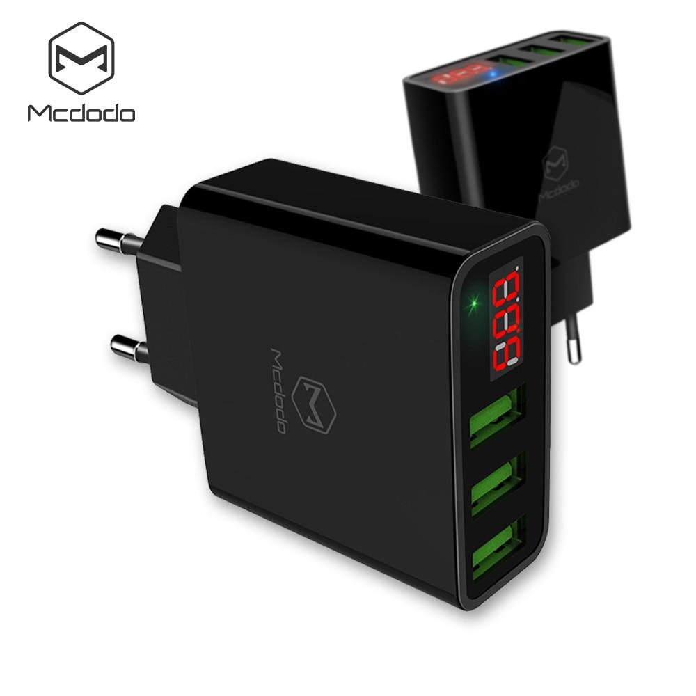 Mcdodo Usb-ladegerät 3 Ports Led-anzeige EU Max 3A Schnellladung Smart Handy-ladegerät für iPhone X 8 Samsung S8 Xiaomi Ladegerät