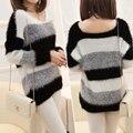 Женщин свитер и пуловеры полосатый пуловер тянуть роковой крючком свободного покроя плюс толстый зимний вязаный свитер перемычка v-образным вырезом свитера