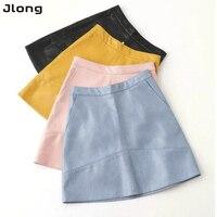 Brand Autumn Winter New High Waist PU Faux Leather Women Skirt Pink Yellow Black Blue Zipper