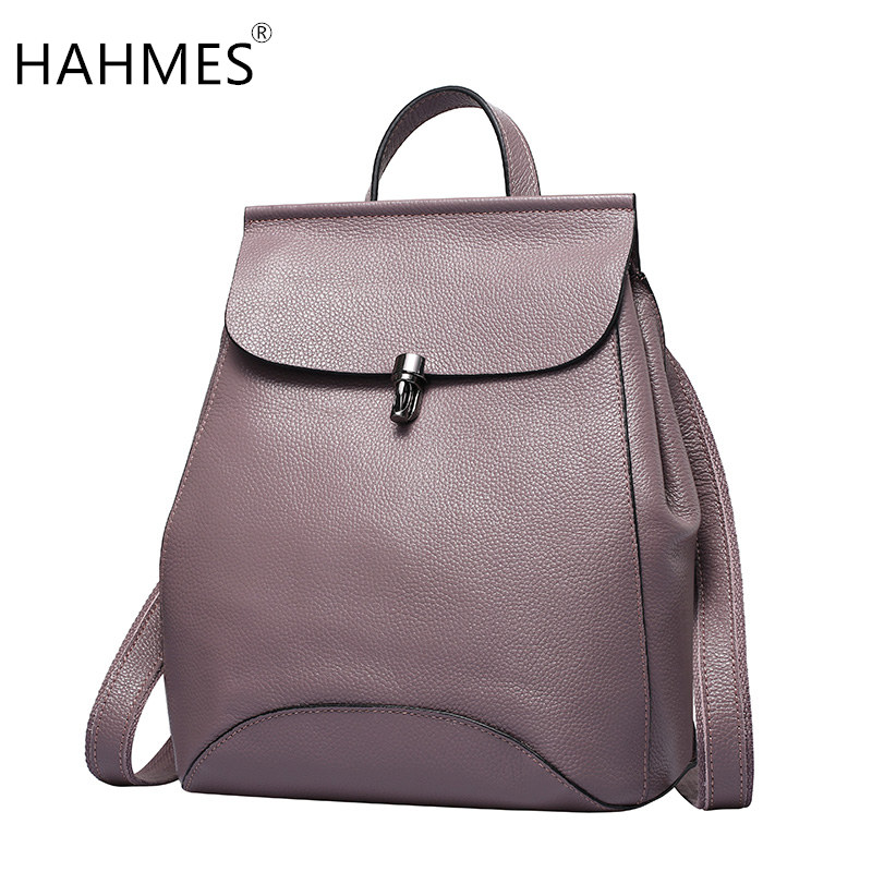 HAHMES Real Cow Leather Women's Backpack Design Casual daypacks Travel Bags Luxury Brand Genuine Leather Shoulder Bag 10774 hahmes 100