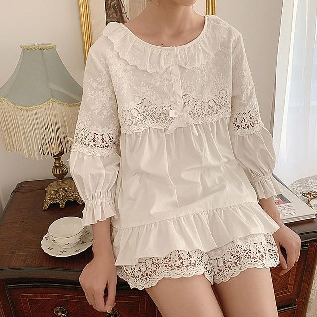 Summer Womens Lolita Flower Embroidery Pajama Sets Tops+Shorts.Vintage Ladies Girls Pyjamas set.Victorian Sleepwear Loungewear