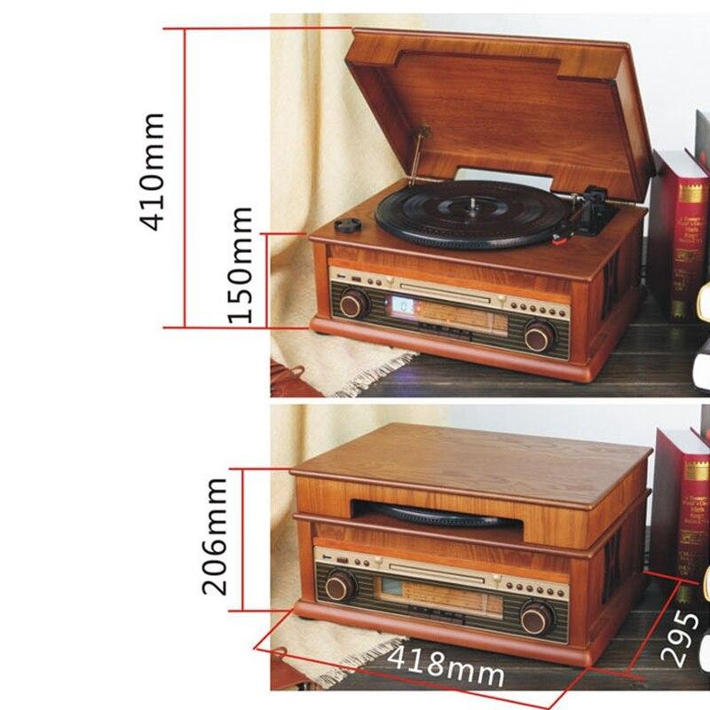 Классический винтажный граммофон, Виниловая пластинка, винтажный CD плеер, Ретро FM радио, Bluetooth, динамик 7 1, функция 220 В - 2