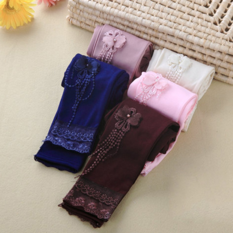 5 Colors Toddler Kids Girls Baby Pants Lace Floral Stretch Leggings Trousers ...