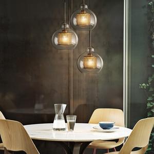 Image 3 - Postmodernistyczna nordycka szklana bańka wisiorek led światła do jadalni kuchnia restauracja lampa wisząca oprawa