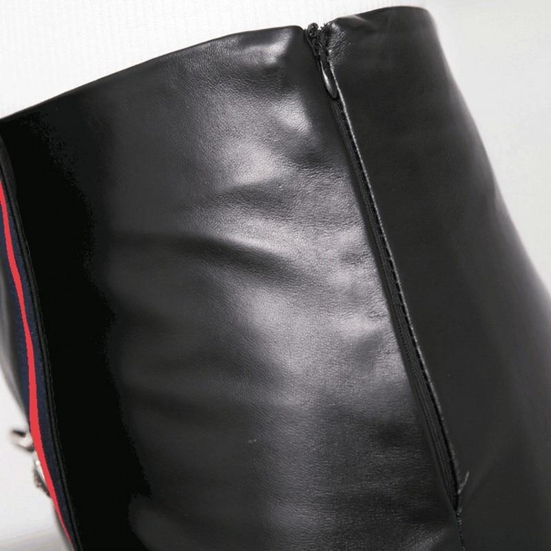 Jupe Dames Jupes Bureau Rayé Moulante Ligne Taille En Femmes Black Fit Haute Breasted Slim Véritable Bouton Une Crayon Mini Double Cuir 8wdwApq
