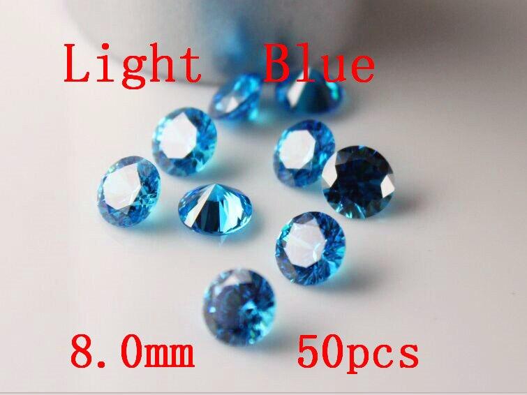 MRHUANG bijoux fournitures zircon cubique AAA bleu clair 7/8/9/10mm rond zircone bijoux à bricoler soi-même fournitures - 2