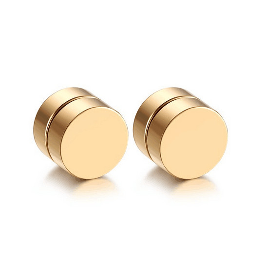Punk Titanium Steel Clip Fake Magnetic Earrings For Men Male No Hole Pierced Without Piercing Round Ears Black Magnet Jewelry
