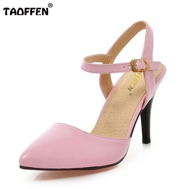 TAOFFEN women's ankle strap pointed toe high heel sandals sexy fashion ladies heeled shoes large size 31-43 P23535 women flat sandals fashion ladies pointed toe flats shoes womens high quality ankle strap shoes leisure shoes size 34 43 pa00290