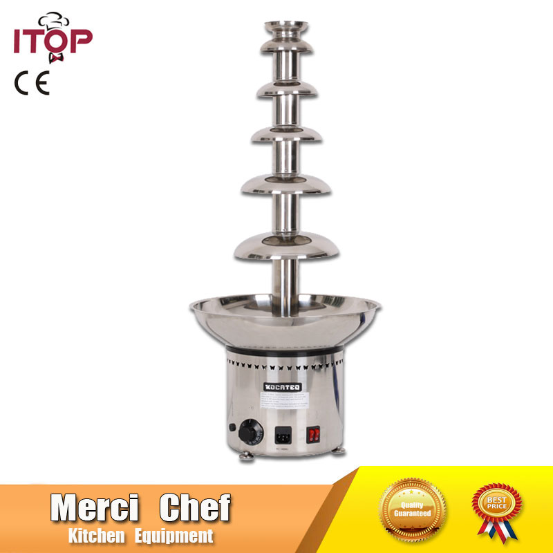 Fast shipping Food Machine  6 Layers Chocolate Fountains Commercial Chocolate Waterfall Machine With Full Stainless Steel fast food leisure fast food equipment stainless steel gas fryer 3l spanish churro maker machine