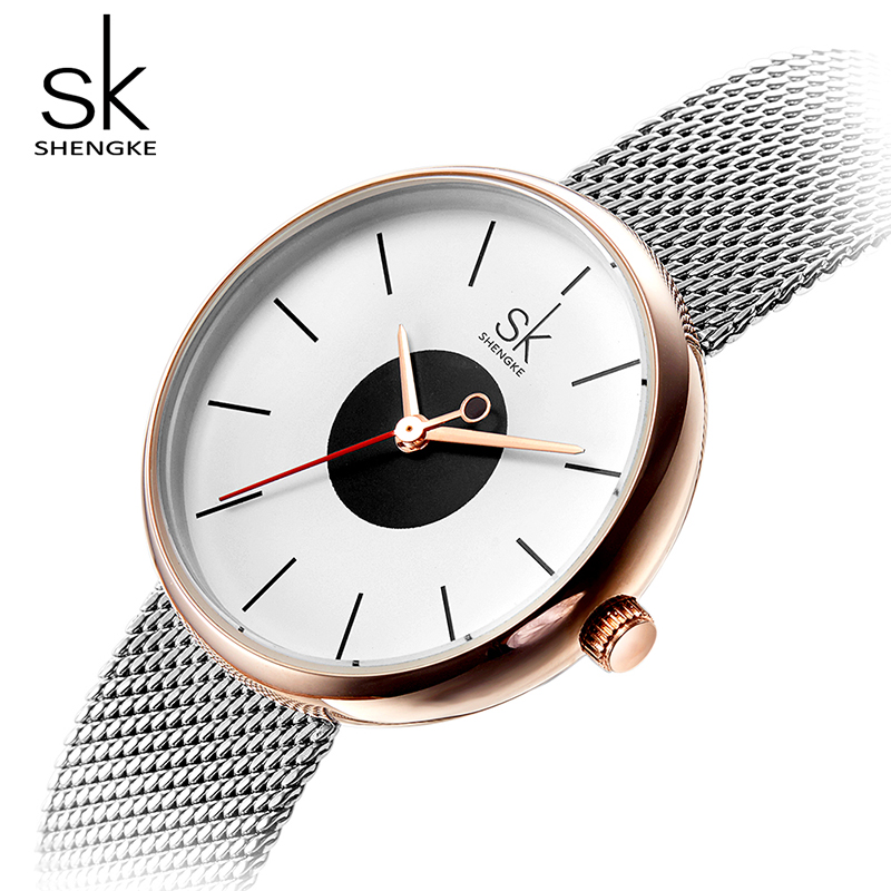 Shengke Luxury Women Quartz Watches Stainless Steel Mesh Band Ladies Wristwatch Female Gift 2018 SK Relogio Feminino #K0041 shengke luxury watches women rhinestone bracelet watches ladies quartz wristwatch relogio feminino 2018 female clock k0011