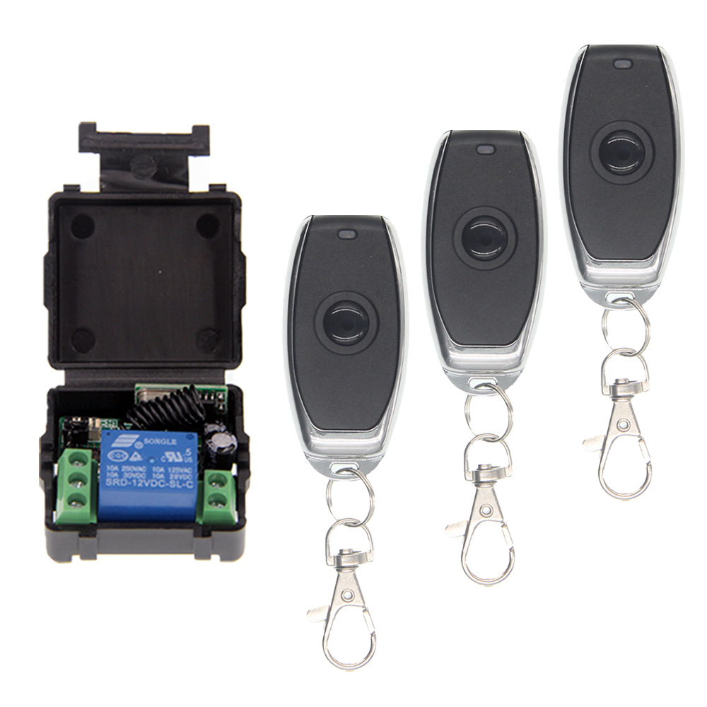 Mini DC 12V 10A 1CH 1 CH Remote Control Switch RF Wireless Receiver Transmitter 315 / 433 MHz Toggle / Momentary / Latched miti ac220v 110v 1ch rf wireless remote control switch system 8ch transmitter 8 x receivers toggle momentary 315 433 92 4025