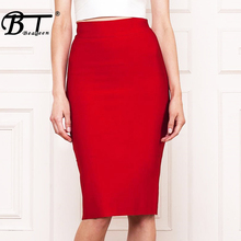 CHIC VITA Solid Sexy Office 8 Color Empire Lady Skirt Fashion Pencil Knee Length Party Bandage Women Faldas Saia 2017 New